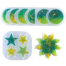 DM025 étoile lune soleil éclipse résine moule Silicone bijoux moules bricolage à la main cristal UV colle pendentif porte-clés INS