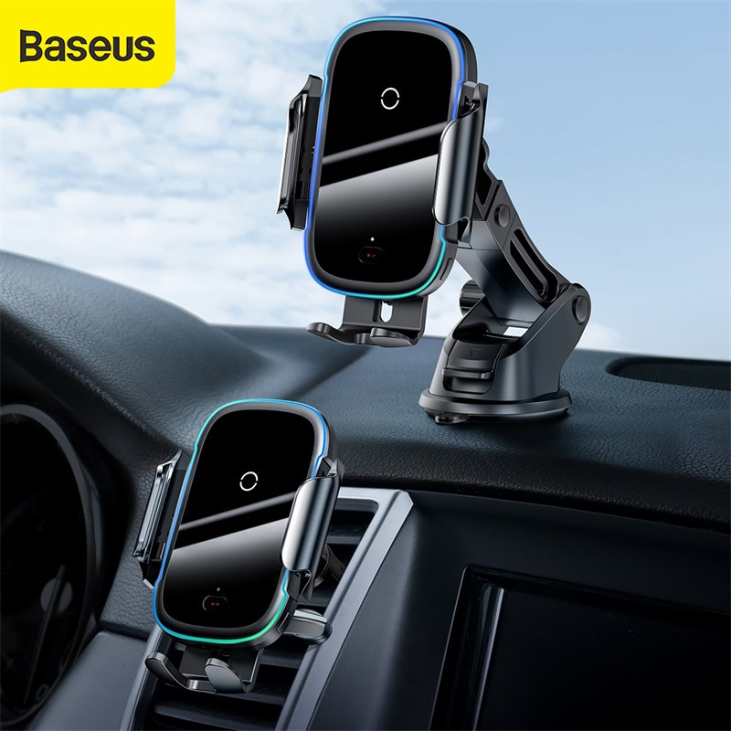 Baseus حامل هاتف السيارة 15 واط تشى سيارة شاحن لاسلكي المزدوج وضع ذكي سنادات بالسيارة ل منفذ الهواء سيارة لاسلكية حامل هاتف