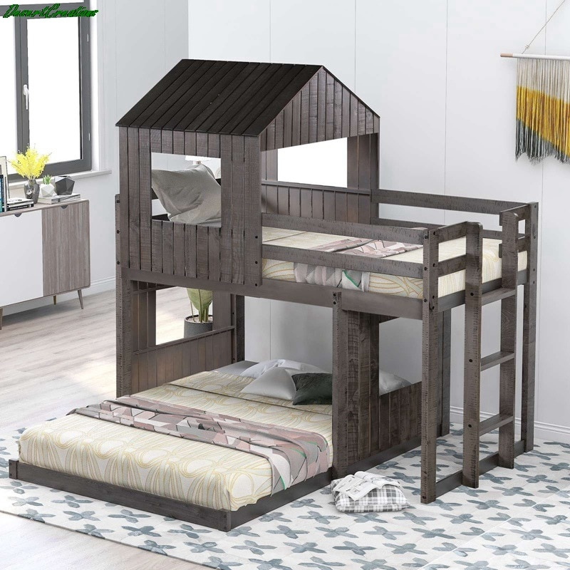 Wooden Twin Over Full Bunk Bed, Loft Bed With Playhouse, Farmhouse, Ladder And Guardrails For Kids, Toddlers, Boys & Girls, Gray