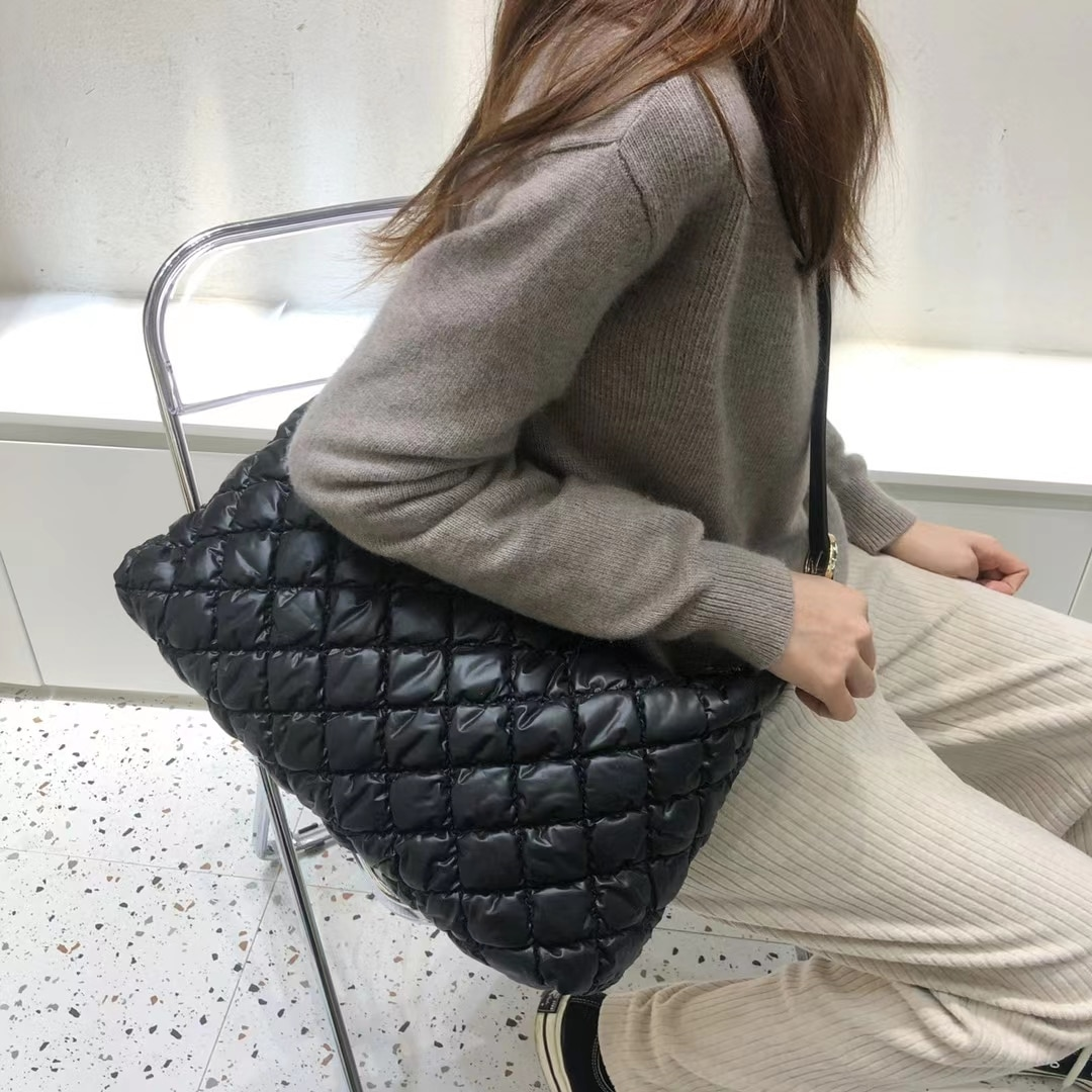 Winter Crossbody Pillow Bags Soft  Square Space Pad Cotton Feather Down Messenger Bag Large Capacity Casual Handbags and Purses