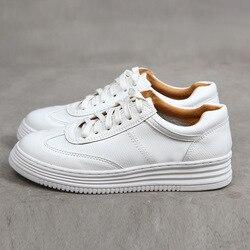 SMS As Sapatilhas Das Mulheres Dividir Couro Branco Sapatos Lace Up Chunky Andando Tenis Feminino Zapatos De Mujer Plataforma Mulheres Sapatos Casuais