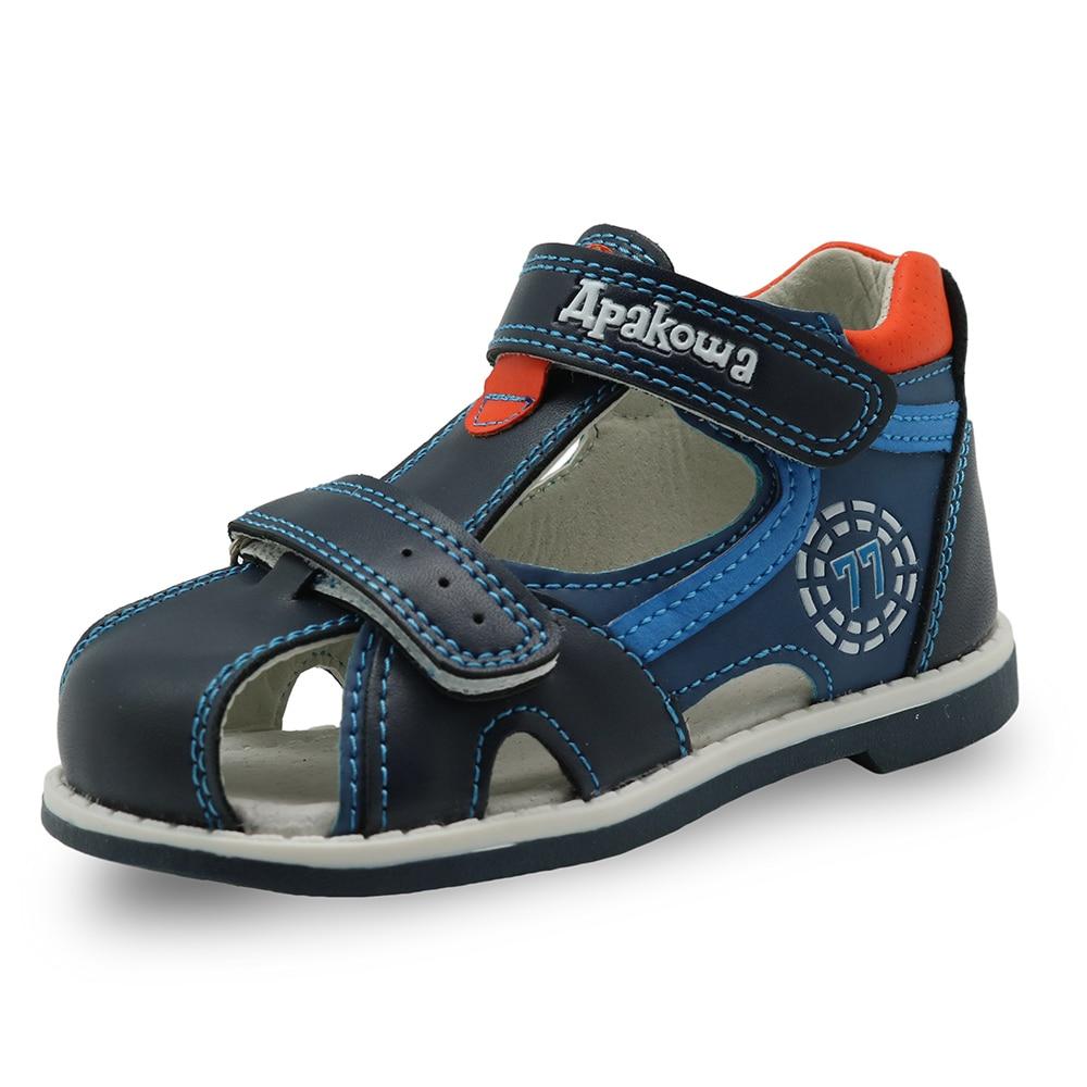 Apakowa 2019 summer kids shoes brand closed toe toddler boys sandals orthopedic sport pu leather bab