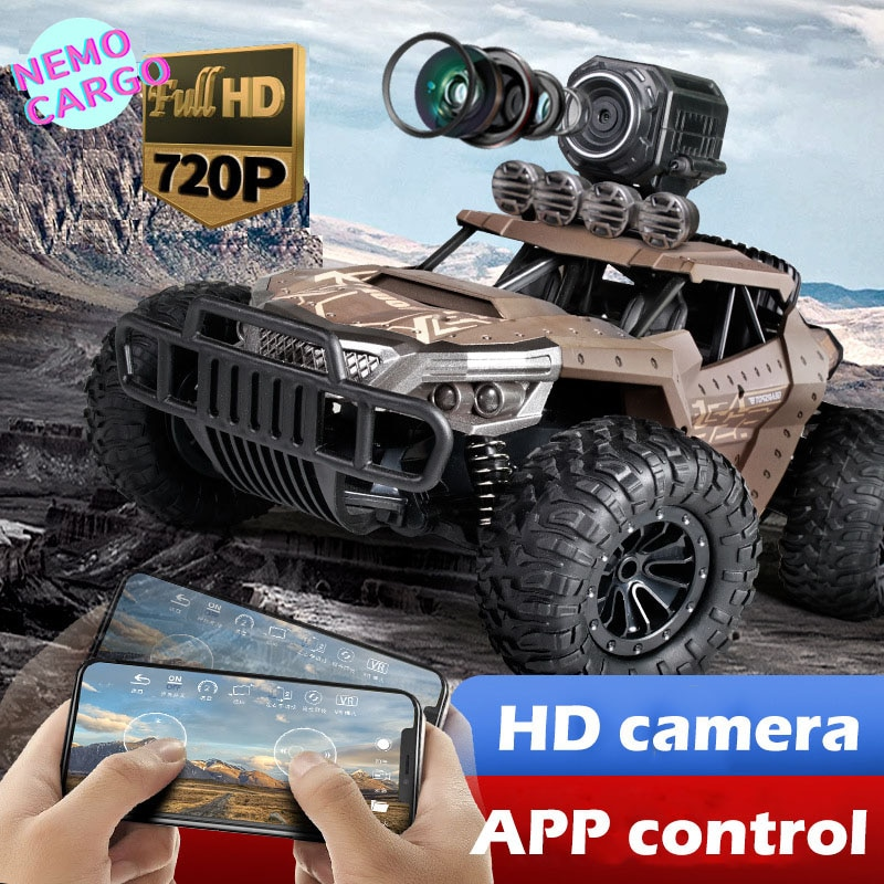 Remote Control Car High-Speed  with HD Camera 720p off-Road Military RC Climbing Bigfoot Boy Childrens Toys Rc Toy