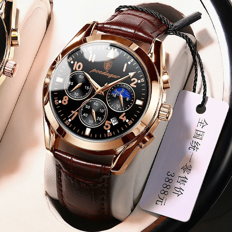 POEDAGAR Men Watches 2021 New Fashion Leather Waterproof Luminous Top Brand Luxury Mens Quartz Wrist