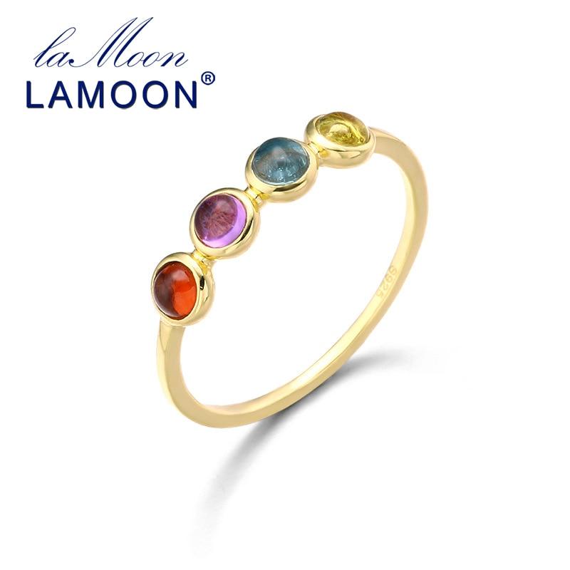 Lamoon 925 prata esterlina 3mm anel de pedra natural 14 k banhado a ouro topázio citrino cocktail anéis jóias finas para mulher lmri128