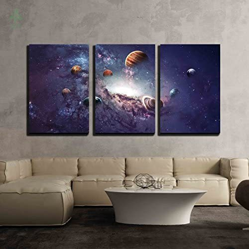 3 Piece Canvas Wall Art Creating Planets Of The Solar System Modern Home Artwork Indoor Decoration