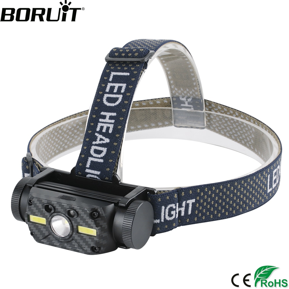 BORUiT B34 IR Sensor de movimiento faro XM-L2 + 2 * COB LED Max.4000LM faro 21700/18650 recargable cabeza linterna Camping caza