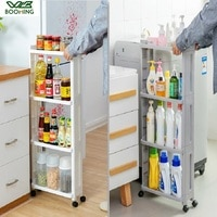 WBBOOMING Kitchen Storage Rack Fridge Side Shelf 3 and 4 Layer Removable With Wheels Bathroom Organizer Shelf Gap Holder