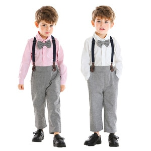 1-5Y Suit Set Bow Tie Shirt Overalls for Toddler Baby Boys Gentleman Bow Tie Solid T-Shirt Tops+Suspender Pants Party Outfits
