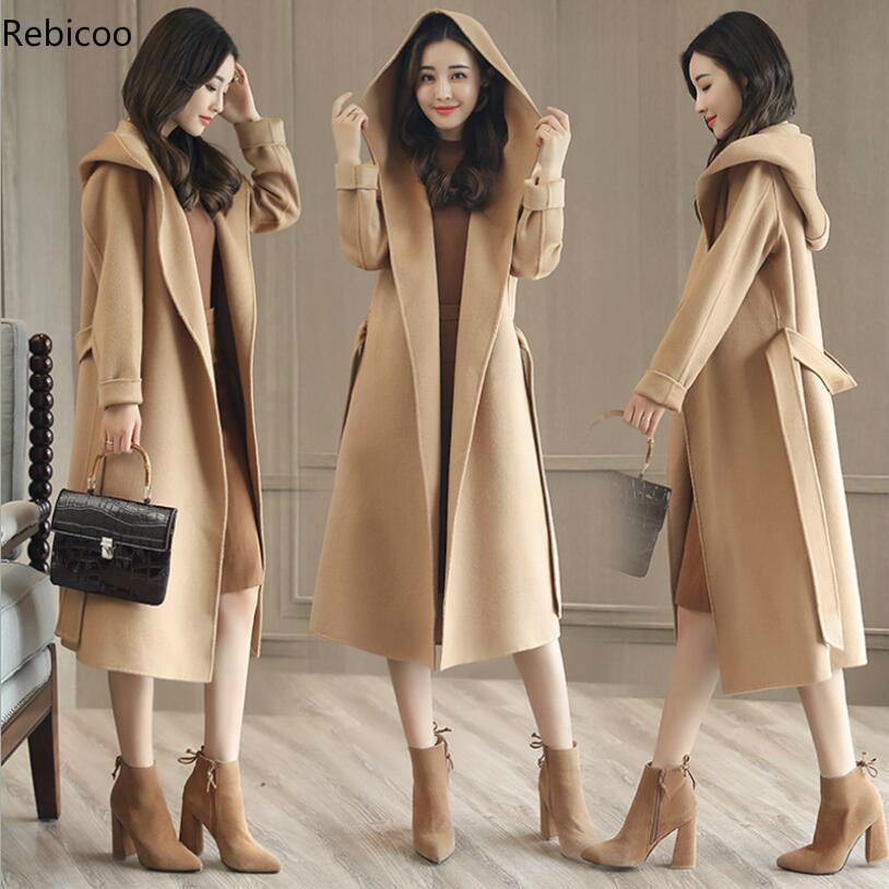 Novo casaco de lã das mulheres coreano longo solto outwear cinto fino com capuz jaqueta plus size outono inverno qualidade feminino casaco à prova de vento