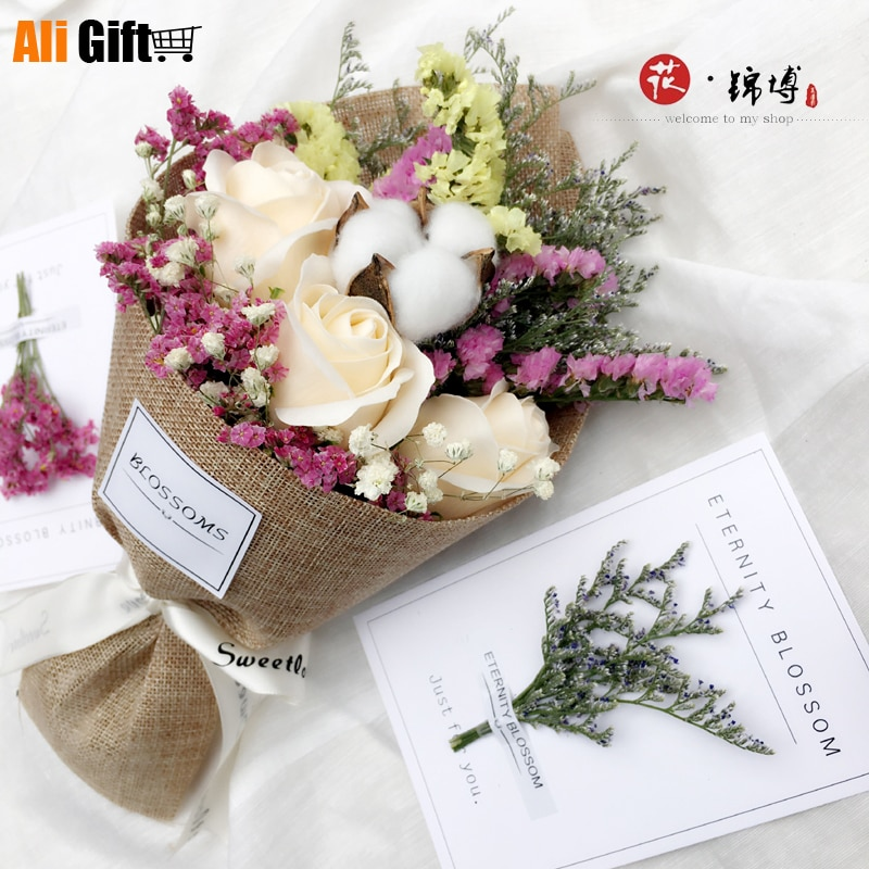 Postage Dried Flowers, Real Flowers All Over The Sky, Kapok Flowers, Forget-me-not Rose Soap Bouquet Gift Box Birthday Present