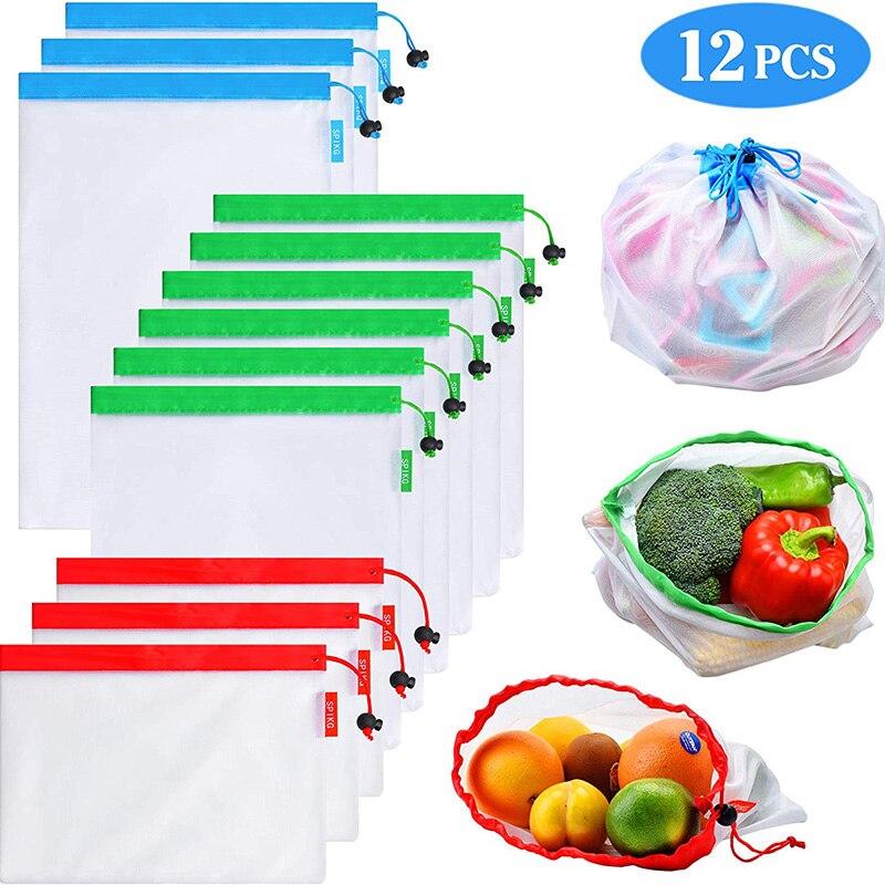 Многоразовые сетчатые продуктовые сумки, экологически чистые легкие моющиеся мешки для продуктов, для хранения продуктов, 12 упаковок