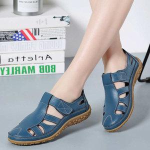 Women flat shoes 2021 fahsion genuine leather shoes woman comfortable hook&loop women shoes soft hollow women shoes plus size