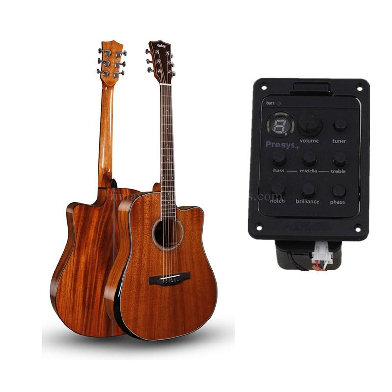 Guitarra acústica eléctrica Finlay de 41 pulgadas totalmente lisa, con cuerpo de caoba totalmente lisa, guitarras chinas con pastilla, con estuche rígido