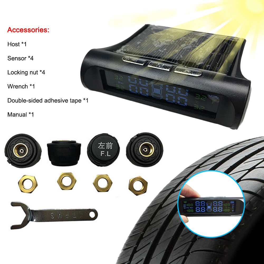 smart car tpms tire pressure monitor system for nissan qashqai with 4 sensors wireless alarm systems lcd display tpms monitor GISAEV Tire Pressure Monitoring System Wireless TPMS Monitor Solar Power LCD Display with 4 External Sensors 6 Alarm Modes