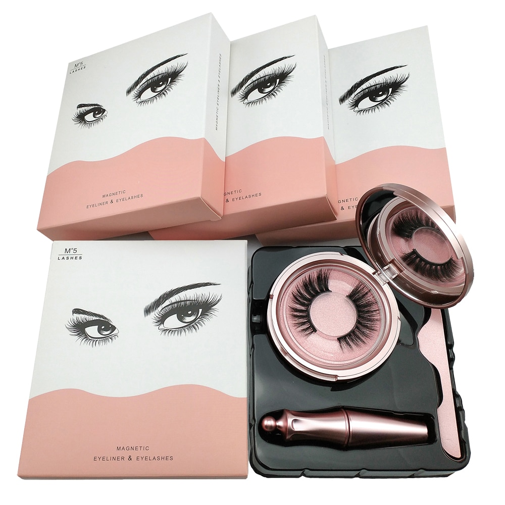 10 sets Magnetic False Eyelashes with Magnetic Liquid Eyeliner 2 pairs Eyelash/set Wholesale Easy To Wear Lashes Women Makeup