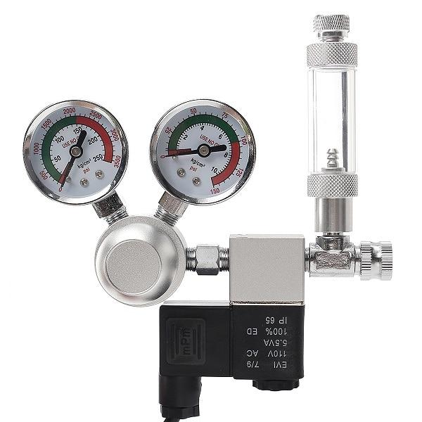 Regulador de CO2 de 220V, válvula de solenoide magnética, doble indicador, contador de burbujas, sistema de Acuario, contador de burbujas, Control de CO2, enchufe de la UE