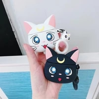 japanese anime cartoon sailor moon luna cat airpods cover wireless bluetooth headset for apple airpods 1 2 pro earphone cover