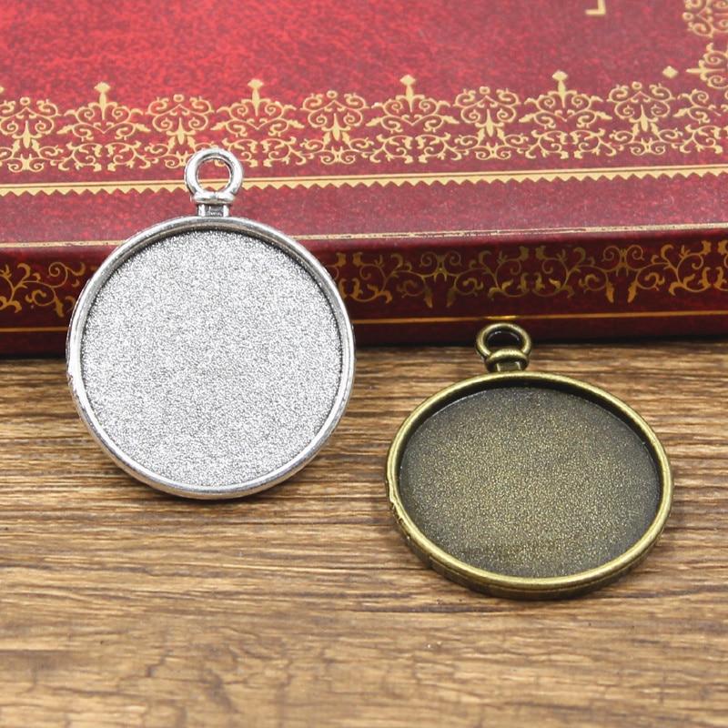 5pcs Fit 25mm Clock Watch Round Glass Cabochon Base Setting Antique Bronze Silver Color Color Pendan