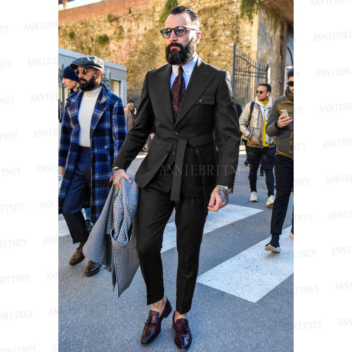 2021 جديد الرسمي أزياء الرجال بدلة سوداء الملابس 3 قطع مصممة صالح سليم المعتاد المطربين مرحلة الأداء سترة سترة السراويل