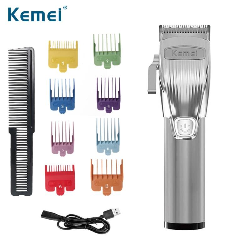 Kemei-ماكينة قص الشعر واللحية الاحترافية للرجال ، ماكينة حلاقة احترافية لاسلكية قوية لقص الشعر