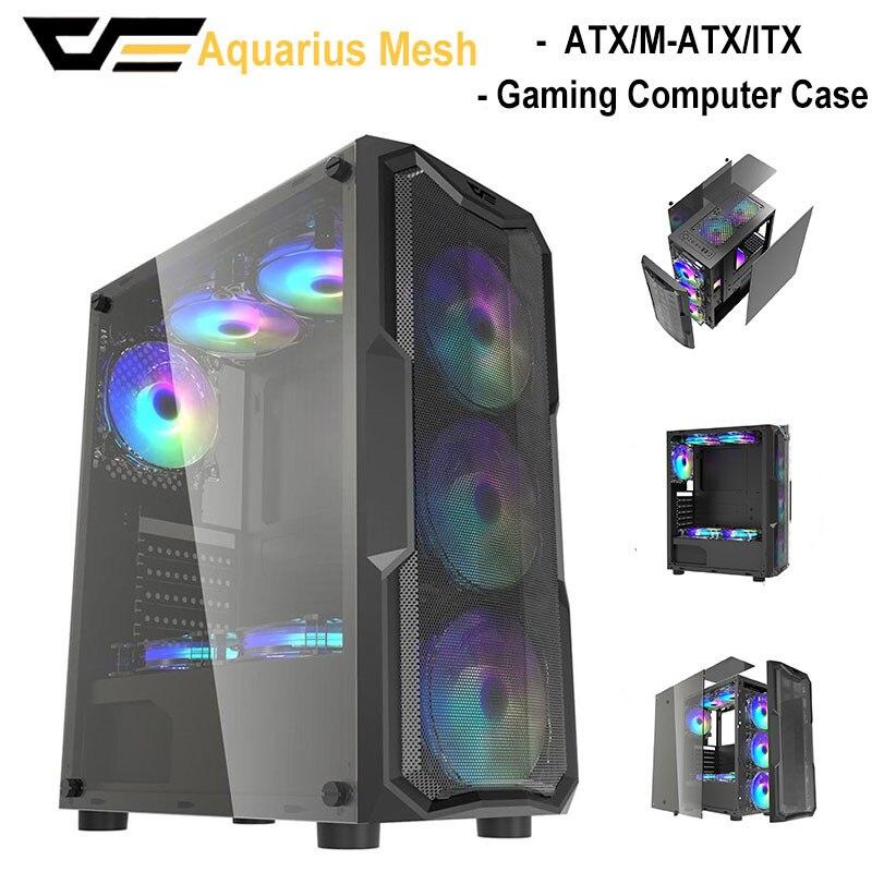 DarkFlash Gaming Gamer, ordenador de sobremesa ATX/M-ATX/ITX, fundas de Torre completa USB 3,0 DIY, chasis Aigo, armario de almacenamiento de vidrio templado