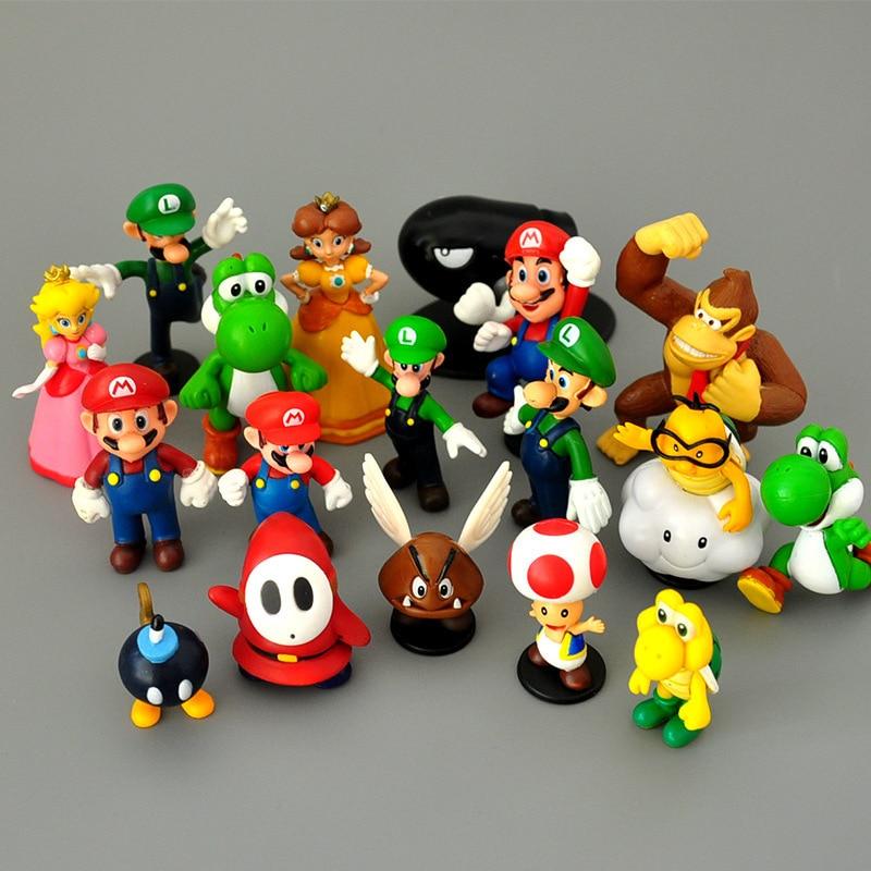 18pcs/set Super Mario Green Treasure Mushroom Peach Princess Luigi Donkey Kong PVC Toy Action Figures Model Kids Birthday Gift