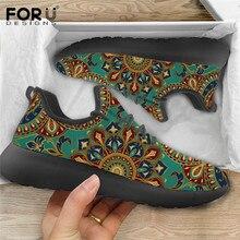 FORUDESIGNS Air Mesh Flats Women Shoes Mandala Pattern Light Leisure Sneakers Ladies Lace-up Comfort
