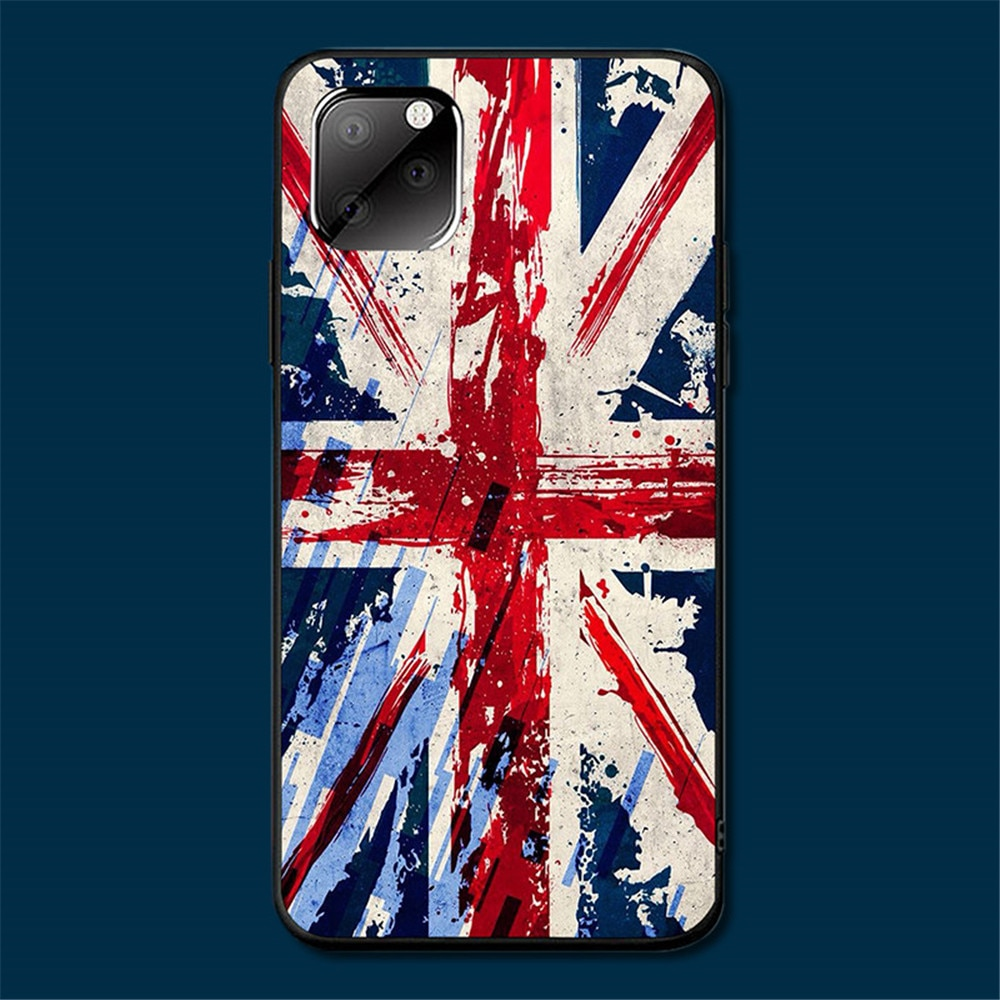 United Kingdom Case for Iphone 11 Pro 8Plus XR Se2 6s 7Plus 11 Silicon Soft Black Shell Case Coque Etui Bumper Full Protective