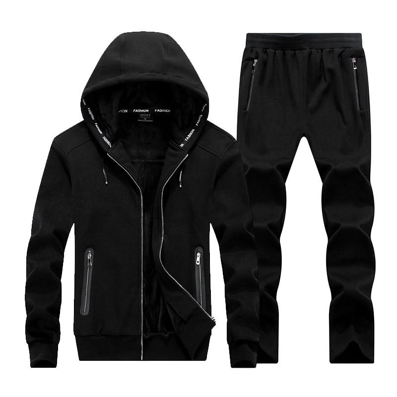Winter Thick Men Sports Suit Tracksuit Hooded Sportswear Zipper Sweats Suits Hooded Mens Tracksuits Pants Fleece Warm Sets Male