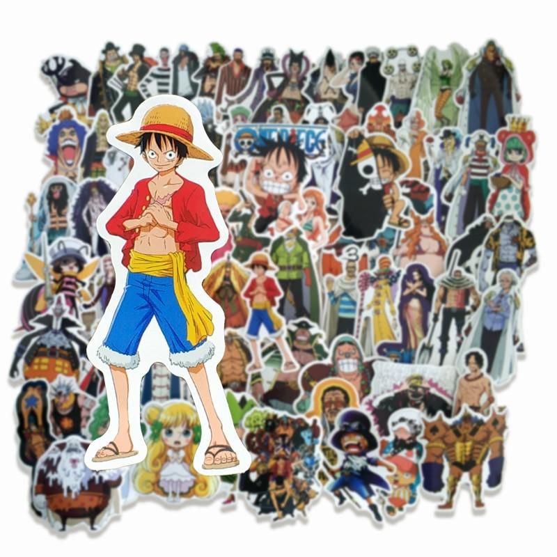 70 Uds. Pegatinas de una pieza Anime Luffy para coche portátil hogar pegatinas para maleta PS4 maleta impermeable pegatina paquete
