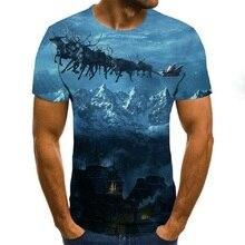 2021 starry sky 3D printing men's summer round neck casual fun T-shirt streetwear men's and women's