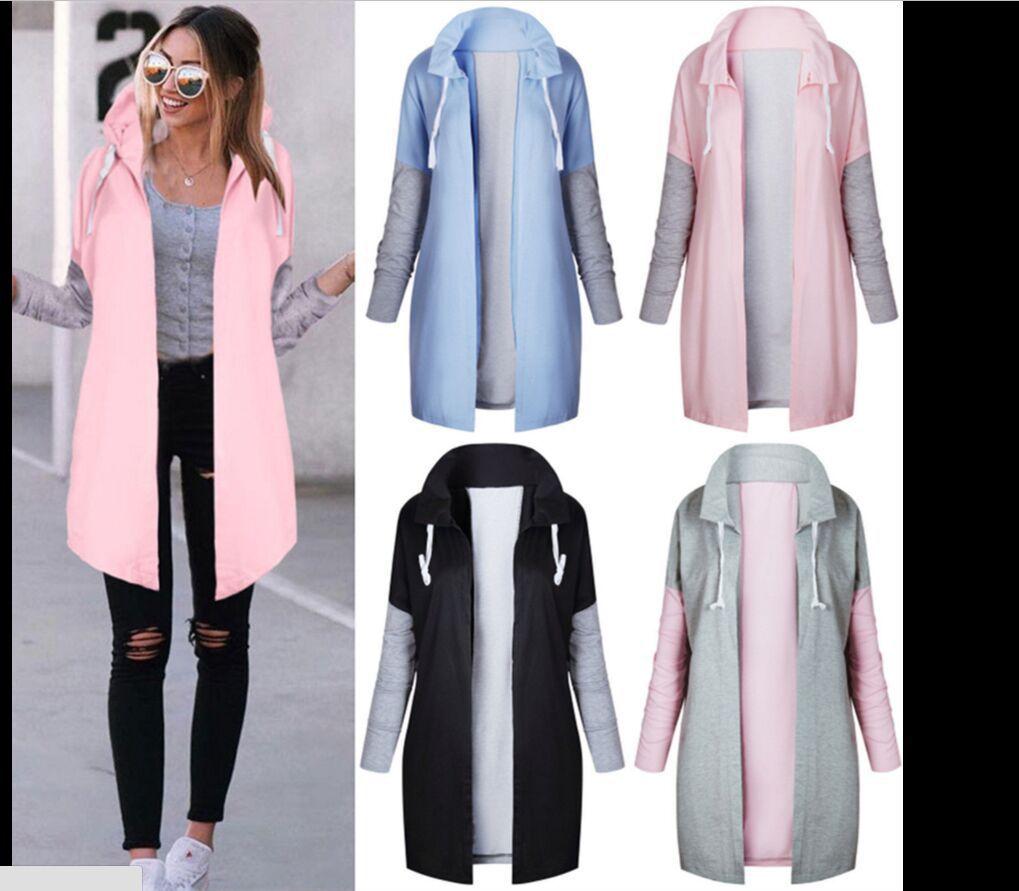 Sudadera de Otoño/Invierno 2019 de moda para mujer, abrigo largo de colores combinados, sudaderas para mujer, abrigo cálido con cremallera, abrigos largos