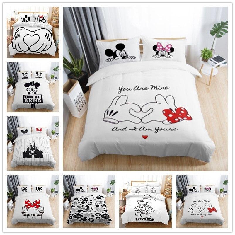 3pcs Black White Bedding Set Mickey Minnie Duvet Cover Home Textile Couple Wedding Quilt Set Adult King Size Bedding Set
