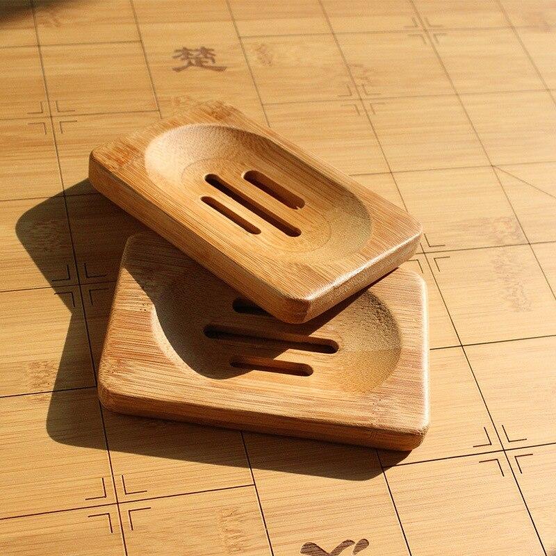 1pc bambú plato de jabón de madera de soporte de bandeja de jabón rejilla para guardar jabón de baño ducha organizador de almacenamiento de accesorios de baño