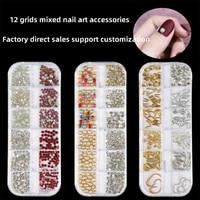 leamx new japanese nail decoration nail art diy jewelry decoration hollow metal rivet edging pearl rhinestone nail accessories
