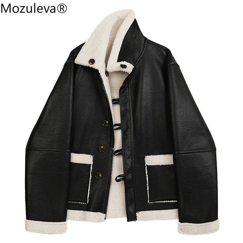 Mozuleva  New Winter Lambswool Both Side Wear PU Leather Jacket Women Loose Lapel Long Sleeve Coat Single Breasted Warm Outwear enlarge