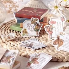 Dimi 50 unids/caja lindo Hada de las flores estética de la etiqueta engomada de papel de nota adhesiva, diario de viaje, Scrapbooking de Kawaii Elfin de La etiqueta engomada