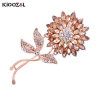 kioozol shiny brown color rhinestone flower micro inlaid cz rose gold color brooch for women vintage jewelry accessories 016 ko3