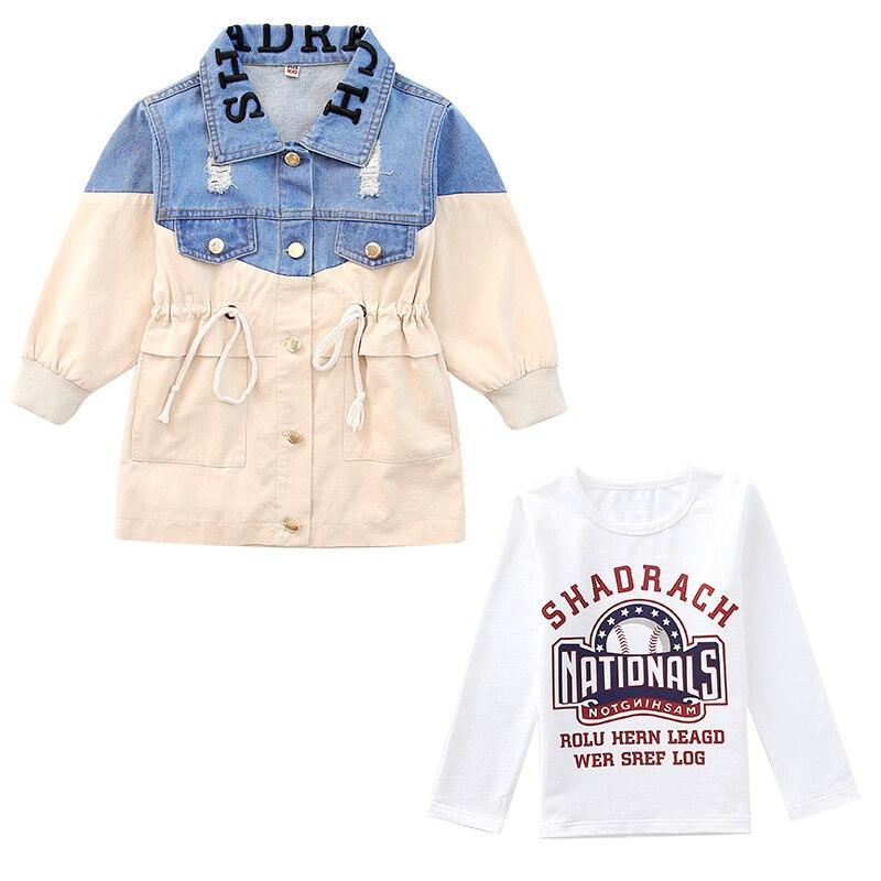 Primavera outono meninos à prova dwaterproof água denim jaquetas crianças jeans casaco crianças splice outerwear roupas menino esporte para 4-12 t crianças