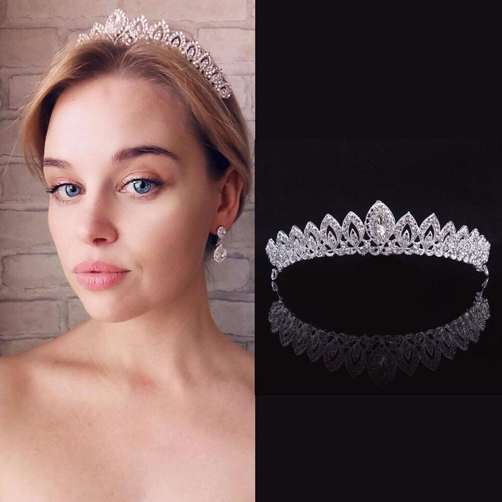 Tiaras preciosas de cristal para novia y coronas de hojas de oro Diadema con perla para boda