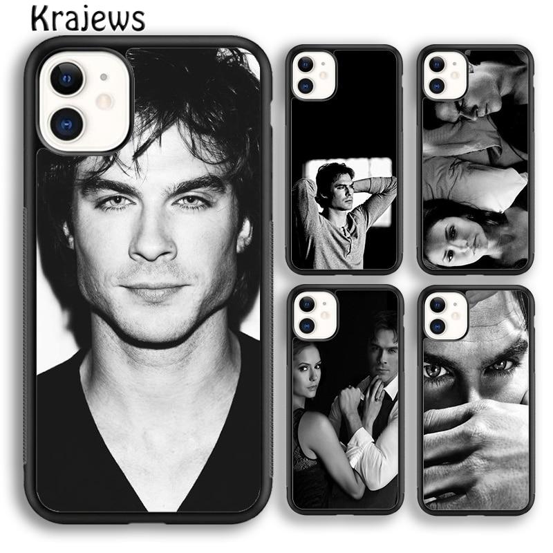 Krajews Damon Elena la vampiro diarios suave cubierta de la caja del teléfono para iPhone 5s 6s 6 7 8 plus X XR XS 11 pro max Samsung Galaxy S9 S10