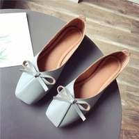 women flat shoes pu leather comfy flats square toe slippers soft bottom loafers butterfly knot ladies ballet single footwear