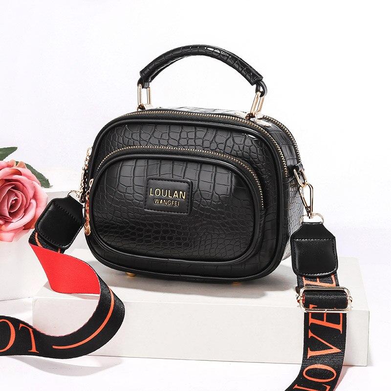 حقائب كتف واسعة للنساء 2021 الربيع التمساح نمط صندوق مربع صغير بسيط لينة بولي PU حقيبة الجراب الجلدية حقائب اليد الصلبة