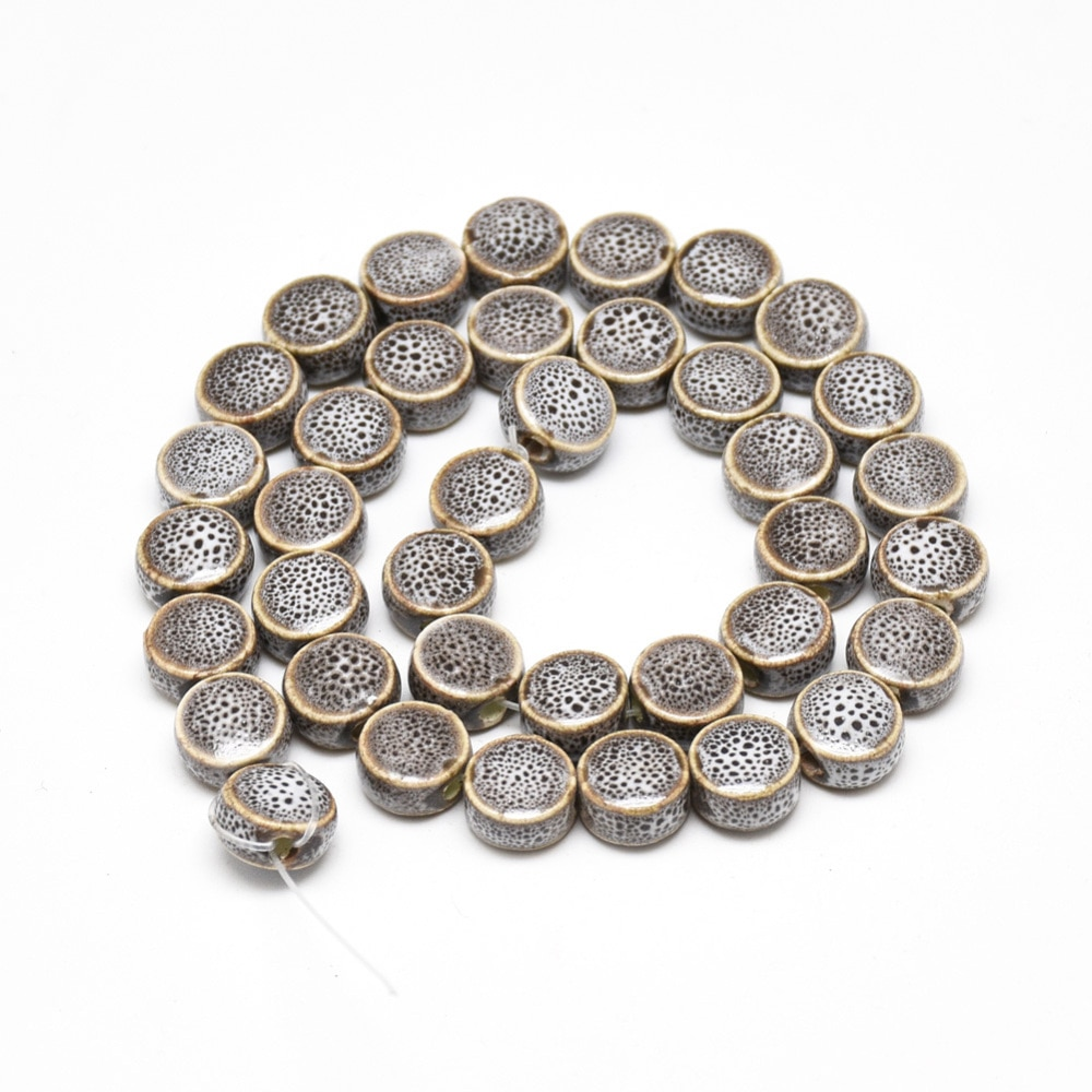 200pcs Handmade Flat Round Porcelain Beads Fancy Antique Glazed Clay Beads for Bracelet Fashion Jewelry Making Diy Accessories