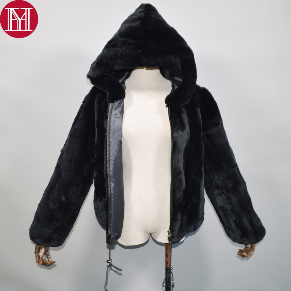 2020 novas mulheres inverno quente macio real rex pele de coelho com capuz casaco rex pele de coelho casaco curto real rex pele de coelho capuz casaco