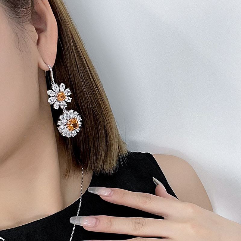 OEVAS 100% 925 Sterling Silver 10*10mm High Carbon Diamond Ice Flower Cut Drop Earrings For Women Sparkling Party Fine Jewelry