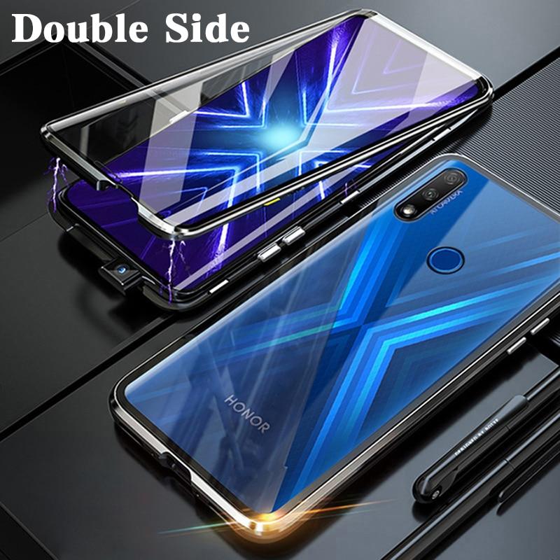 Funda abatible metálica de protección completa de 360 ° para Huawei honor 9X 9X Pro honor 9x honor 9x9 xpro funda de teléfono magnética de doble cara de vidrio