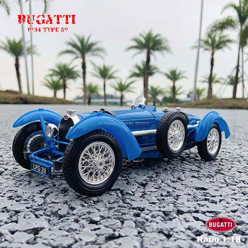 Bburago-سيارة كلاسيكية طراز بوجاتي 1:18 ، سبيكة ، طراز سيارة كلاسيكي قديم ، مجموعة تزيين ، هدية ، 1934