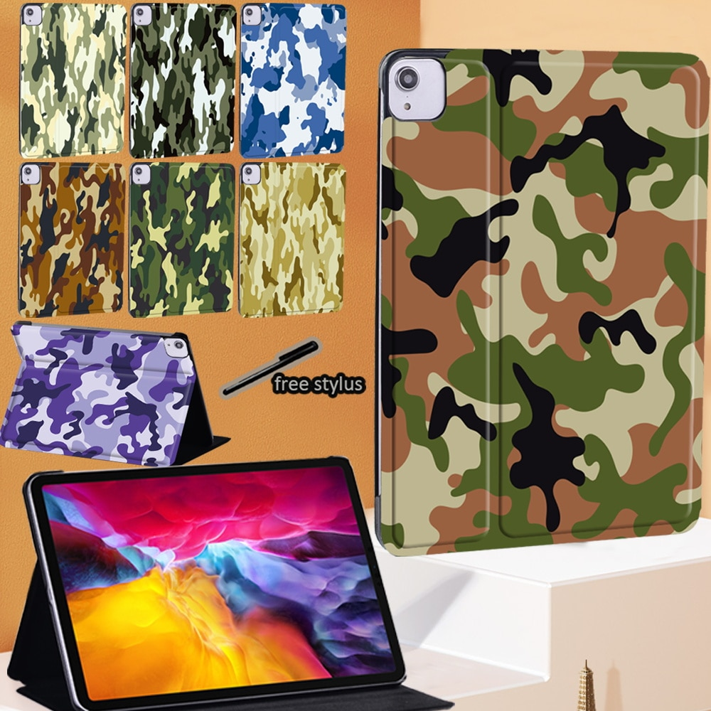 Tablet Case for Apple IPad Air 4 2020 10.9 Inch Camouflage Pattern PU Leather Stand Cover Case + Free Stylus